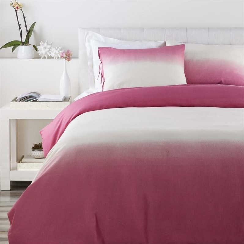 Surya Dip Dyed Woven Cotton Full Queen Duvet in Pink