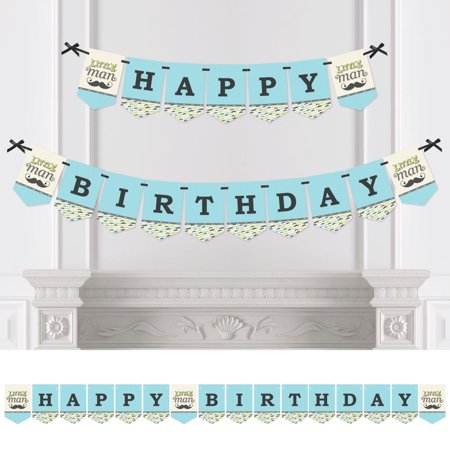 Dashing Little Man - Birthday Party Bunting Banner - Mustache Bash Party Decorations - Happy Birthday](Mustache Part)