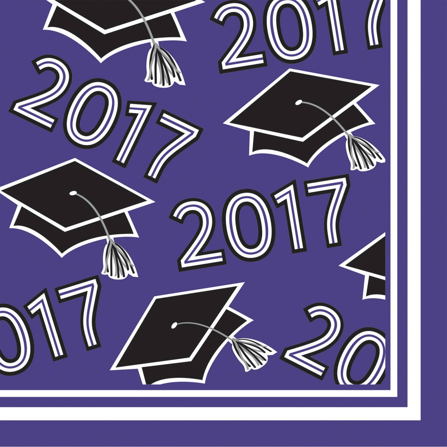 Class of 2017 Purple Beverage Napkins, 36pk by CREATIVE CONVERTING