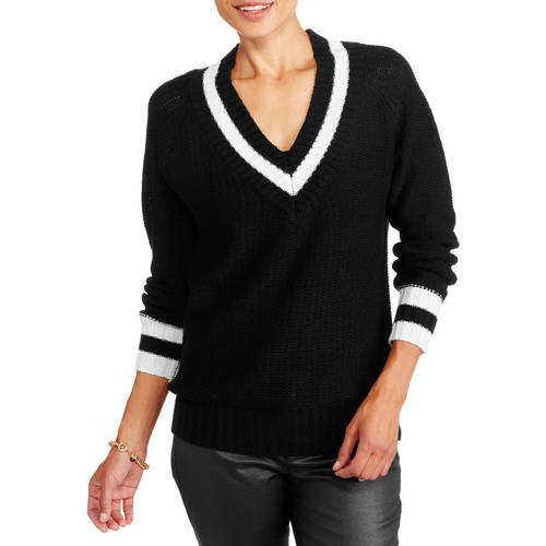 Generic Women's V - Neck Varsity High - Low Sweater