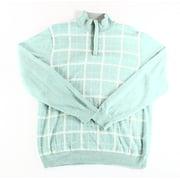 Tasso Elba NEW Green Seaglass Mens Large L 1/2 Zip Grid-Print Sweater
