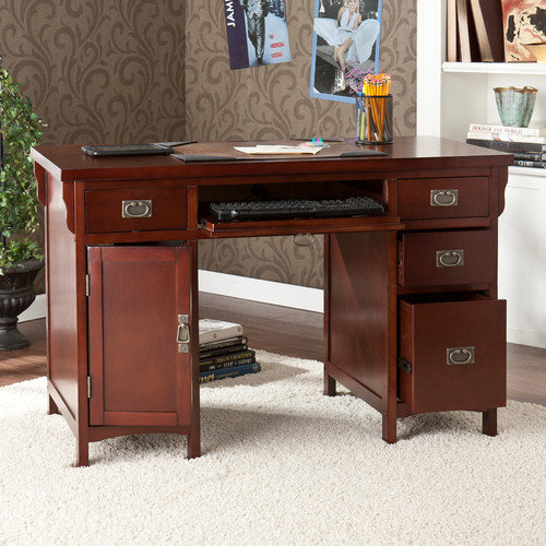 Wildon Home  Mathis Computer Desk with Double Pedestal and Keyboard Tray