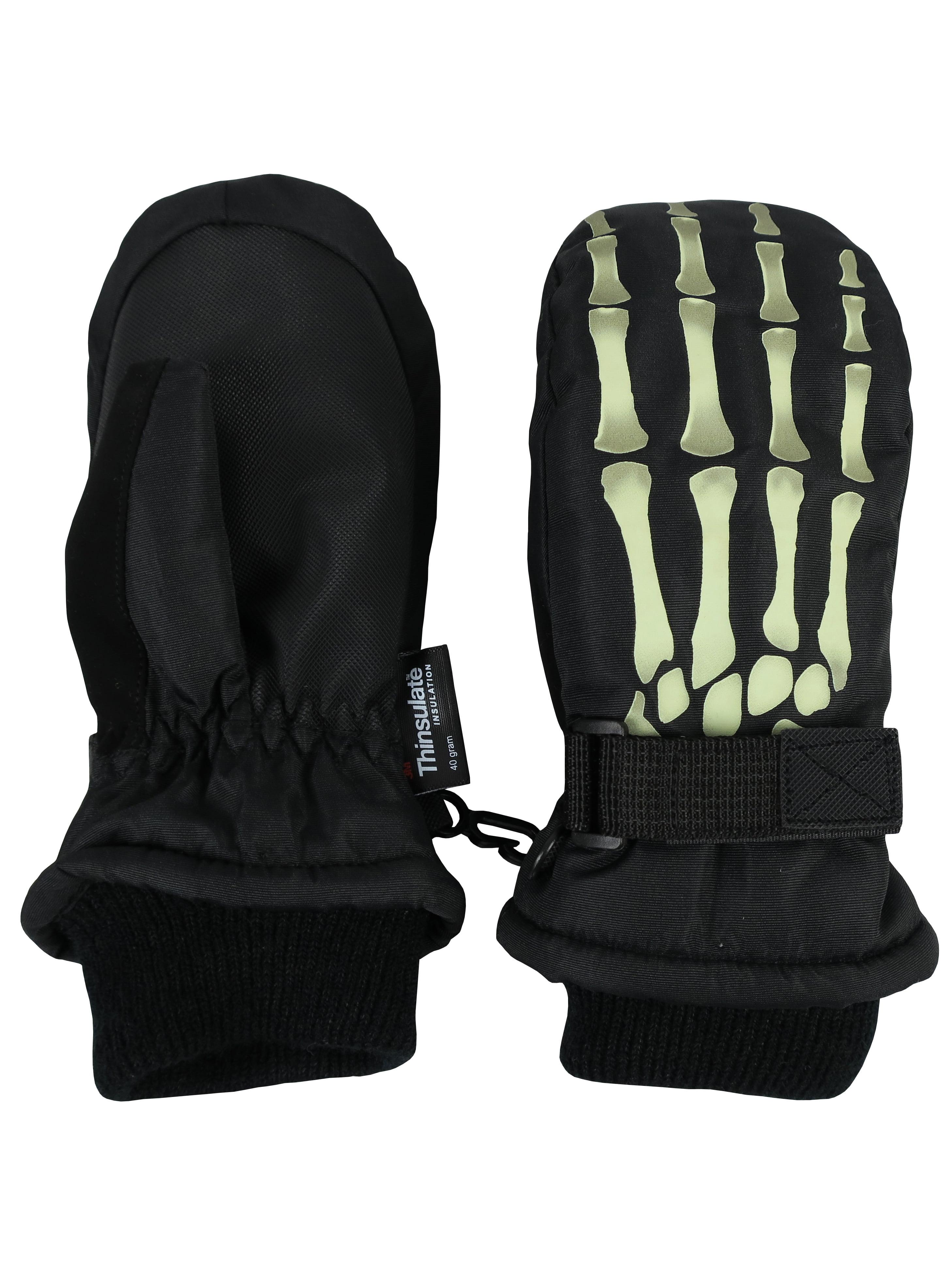 NICE CAPS Boys Kids Youth Skeleton Waterproof Thinsulate Ski Snow Winter Gloves