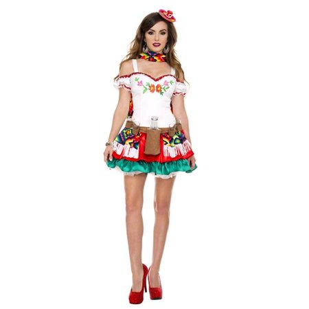 Music Legs 70438-XL 4 Piece Embroidered Sweetheart Neckline Peasant Style Dress with Colorful Multi Layered Skirt for Scarf, Mini Sombrero & Bottle Holster - Extra Large - Large Sombrero