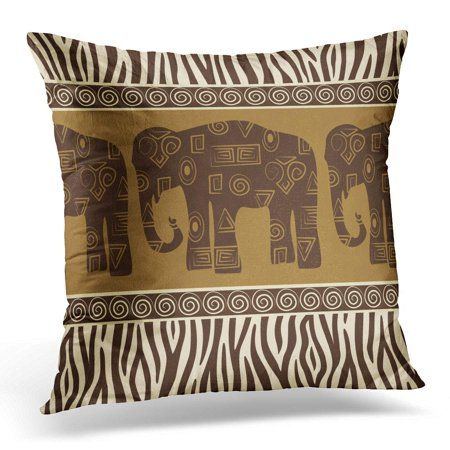 ECCOT Safari Patterns with Elephants and Zebra Skin Pillowcase Pillow Cover Cushion Case 20x20 inch