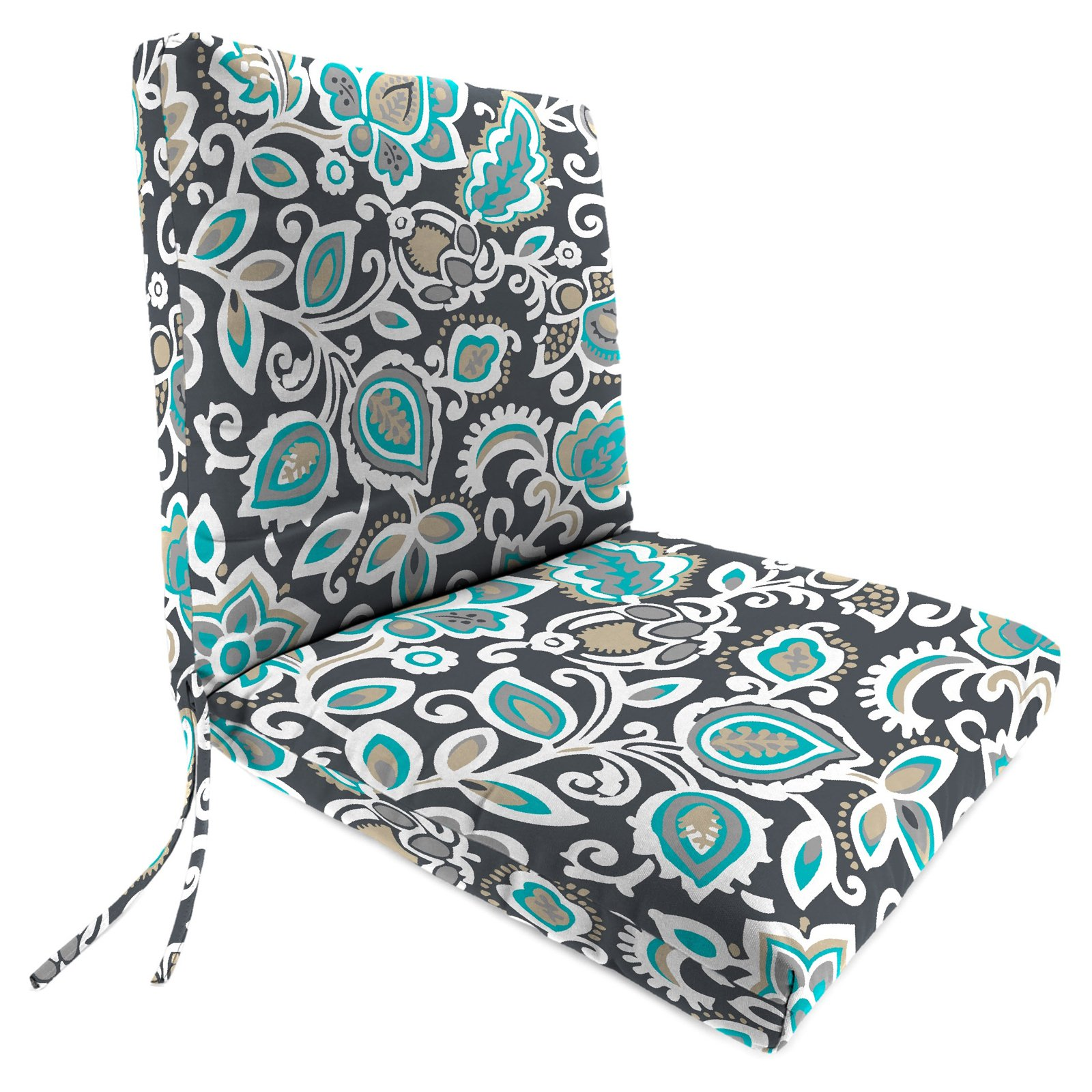 Jordan Manufacturing 44 in. Hinged French Edge Outdoor Chair Cushion - Faxon Cavern