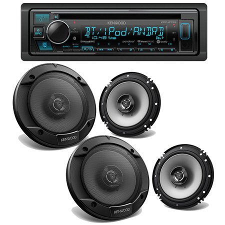 NEW 2019 Kenwood KDC-BT33 Bluetooth CD Receiver w/ (4) KFC-1666S 6.5
