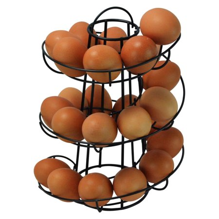 10 Unit Dispenser Rack - Egg Skelter Deluxe Modern Spiraling Dispenser Rack, Black