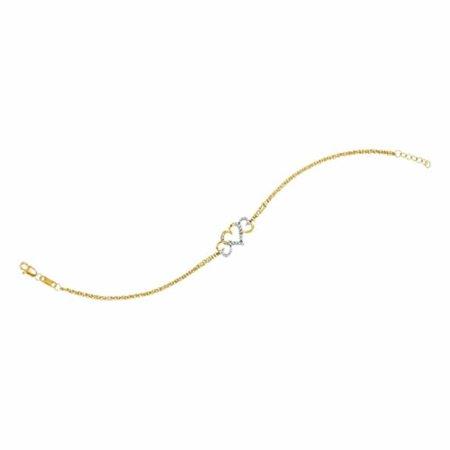 Roy Rose Jewelry 10K Yellow Gold Womens Round Diamond Triple Heart Chain Bracelet 1/10-Carat tw