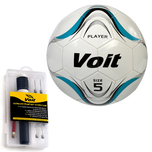 Voit 6-Pack Size 5/Size 5 Player Soccer Ball with Ultimate Inflating Kit, White and Blue Graphic