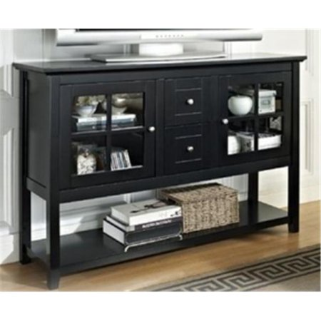 Walker Edison W52C4CTBL 52 inch Wood Console Table TV Stand  Black