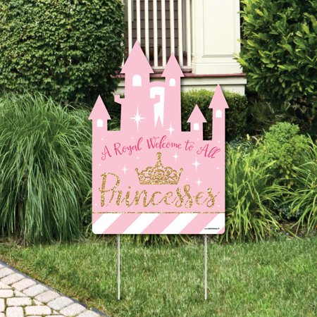 Little Princess Crown - Party Decorations - Pink and Gold Princess Baby Shower or Birthday Party Welcome Yard Sign - Welcome Baby