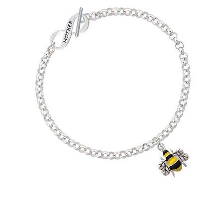 Delight Jewelry - Enamel Bee Mother Infinity Toggle Chain Bracelet