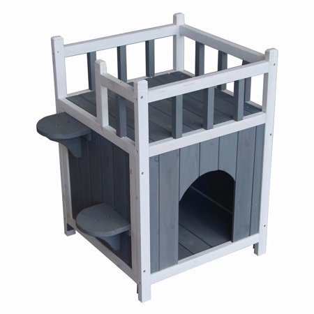 Outdoor Wooden Cat House Pet Home Cat Shelter Condo with Balcony, Gray &