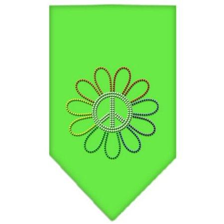 Lime Rhinestone (Rainbow Peace Flower Rhinestone Bandana Lime Green Large )