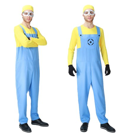 Men's Minion Long Sleeve Bodysuit Costume 4 Piece Outfit Set (XL) - Minions Outfits