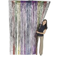 Metallic Rainbow Foil Fringe Shiny Curtain 3 ft x 8 ft (1 Curtain) by Super Z Outlet