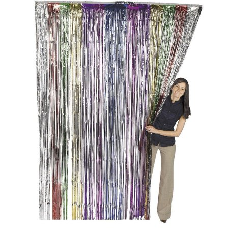 Metallic Rainbow Foil Fringe Shiny Curtain 3 ft x 8 ft (1 Curtain) by Super Z Outlet](New Years Decorations)