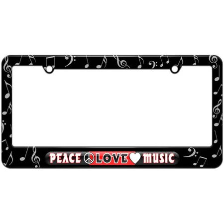 Peace Love Music License Plate Tag Frame, Multiple Colors Peace License Plate