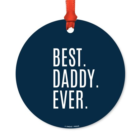 Round Metal Christmas Ornament, Best Dad Ever, Includes Ribbon and Gift Bag, Father's Day Birthday Present Gift Ideas - Present Bag