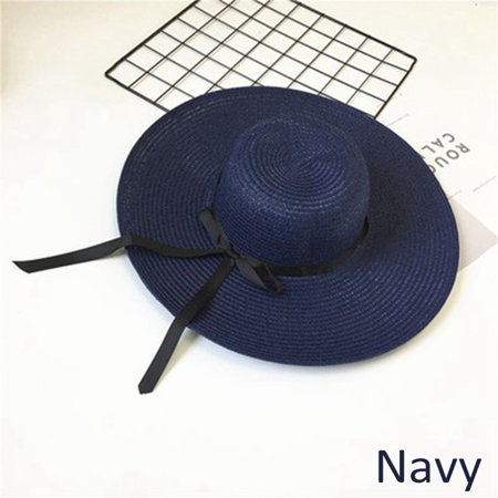 bdaf8de5720 Women Lady Large Summer Brim Sun Visor Straw Beach Cap Holiday Foldable  Bowknot Wide Floppy Hat Chic - Walmart.com