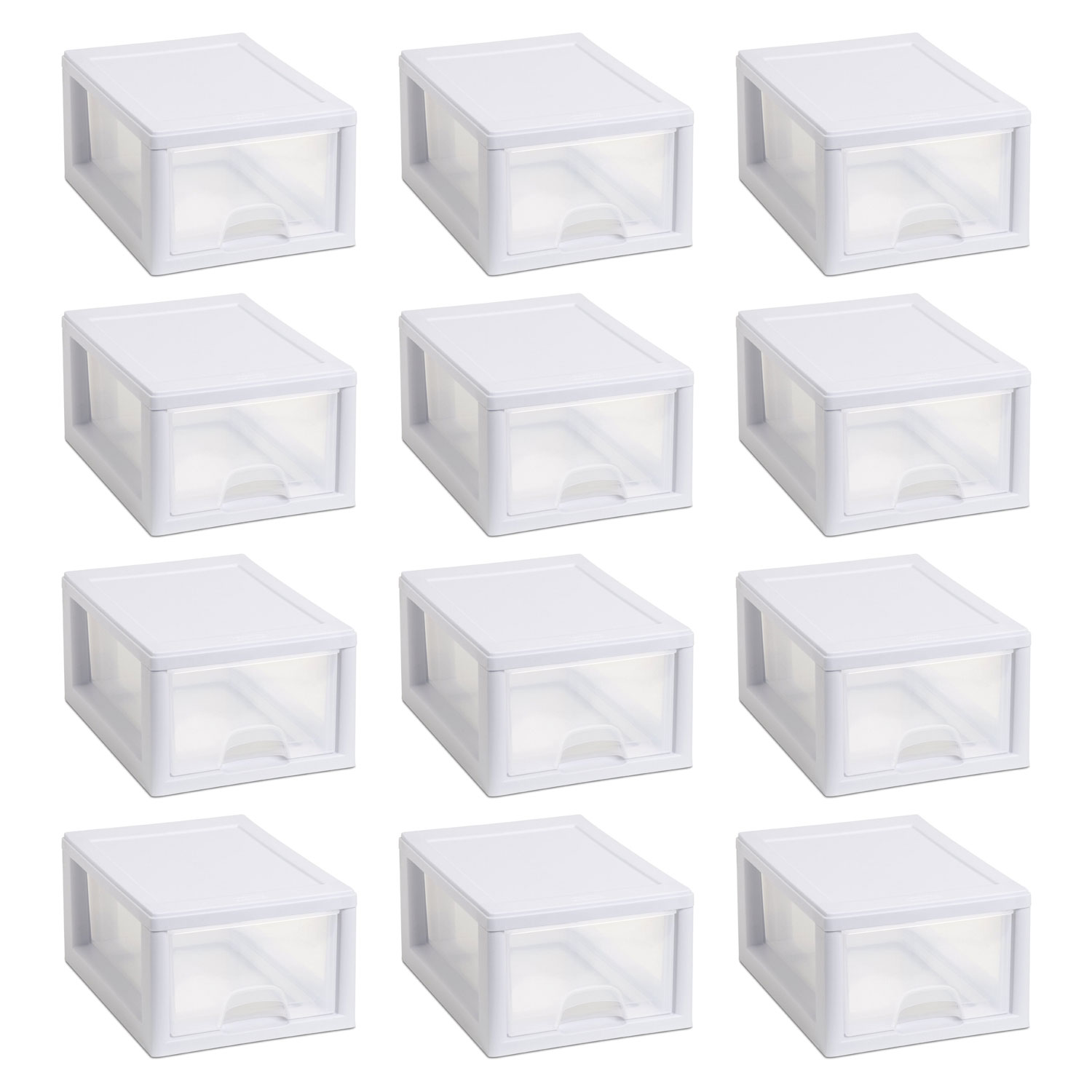 Sterilite 20518006 Stackable Small Drawer White Frame & See-Through (12 Pack)