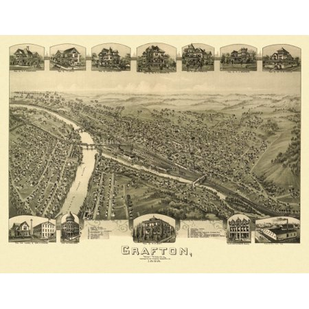 Antique Map of Grafton West Virginia 1898 Taylor County Poster (West Virginia Antique)