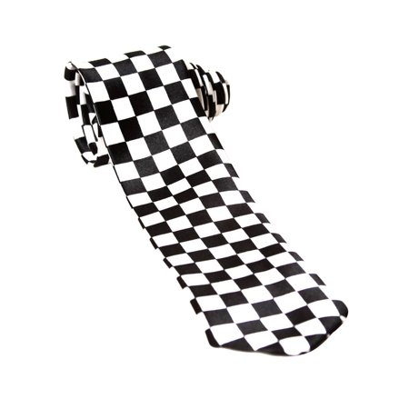 Trendy Wide Tie - Black and White Checkered Checkered Silk Necktie Tie