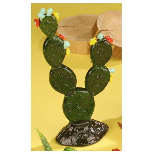 StealStreet SS-UG-UGW-7677 Glass Cactus Rounded with White Flowers Decoration Figurine Decor