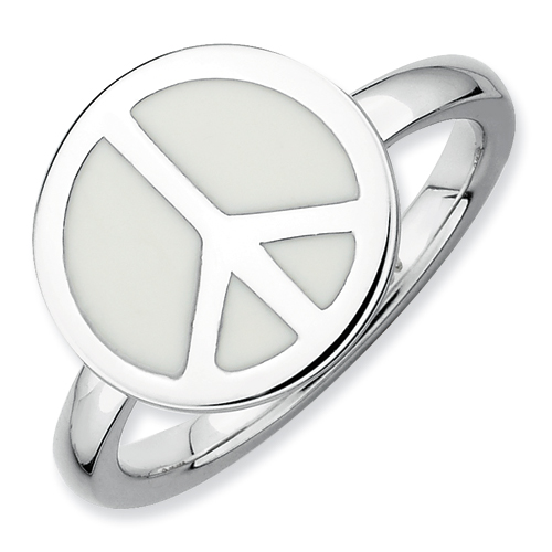 Stackable Expressions Sterling Silver Polished White Enameled Peace Sign Ring
