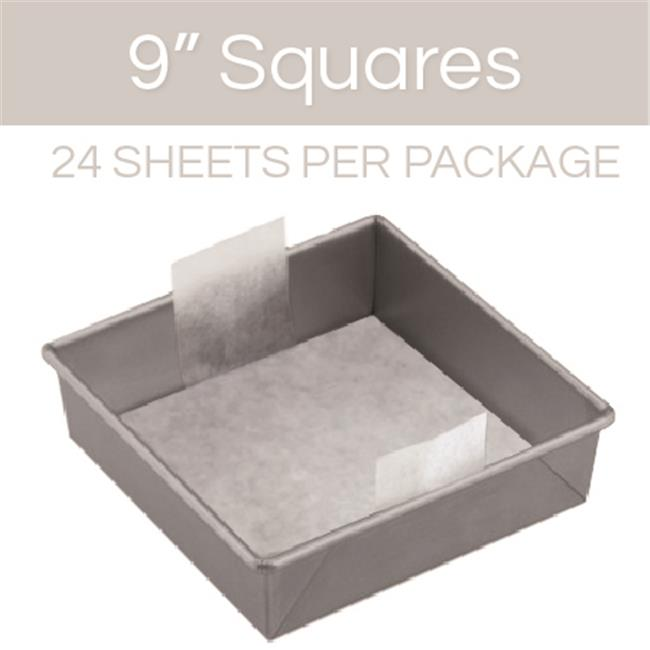 The Smart Baker Square Cake Pan Pre-Cut Parchment, 9 inch - Pack of 24