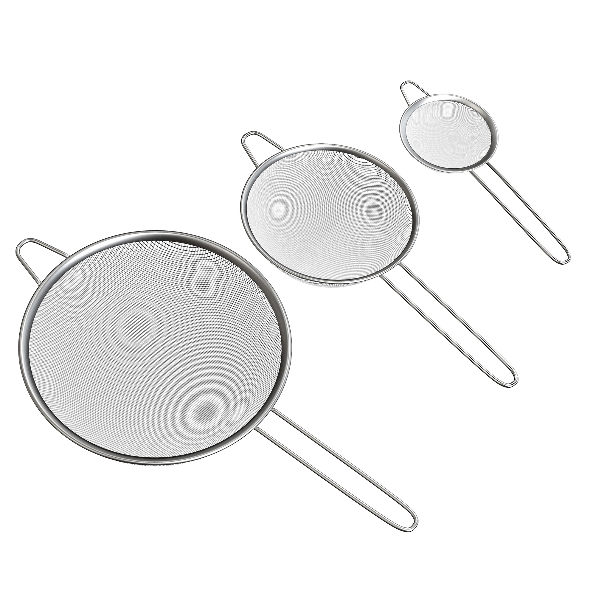 Click here to buy Fine Mesh Strainer Set- Stainless Steel Small, Medium, and Large Colanders for Sifting or Straining Vegetables, Fruit, and Noodles by... by Trademark Global.