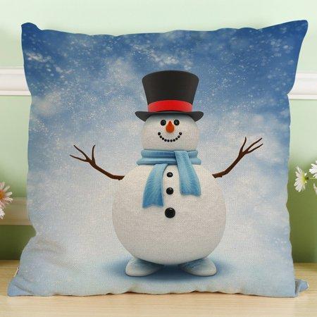 New Christmas Snowman Cotton Linen Pillow Case Sofa Cushion Cover Home Decor A