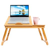 Portable Laptop Desk Folding Lap Tray Bed Adjustable Table Stand Bamboo