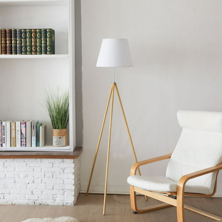 - Tripod Floor Lamp Natural Wood Color On-Off Foot Switch White Fabric Shade