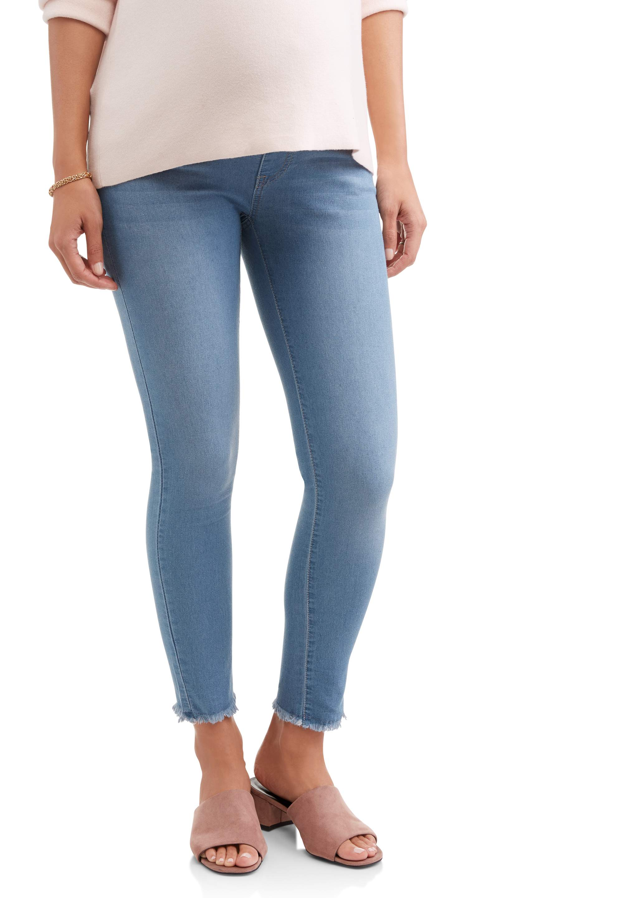 Maternity Full Panel Super Soft 5 Pocket Skinny Jeans with Released Hem Available in Plus Size by
