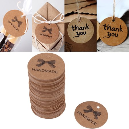 Sonew 100pcs Brown Handmade Hang Label Wedding Favor Gift