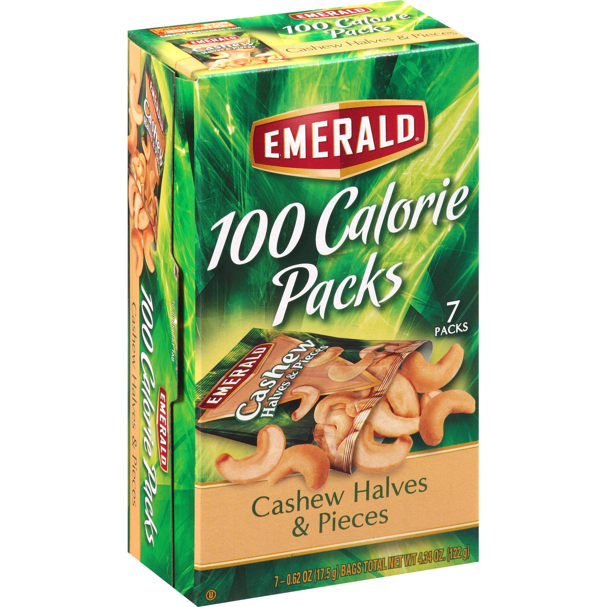 Emerald  Roasted & Salted Cashew Halves & Pieces 100 Calorie Packs, 7 count