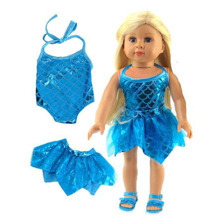 Teal Mermaid Bathing Suit and Cover-up for 18 Inch Doll | Fits 18
