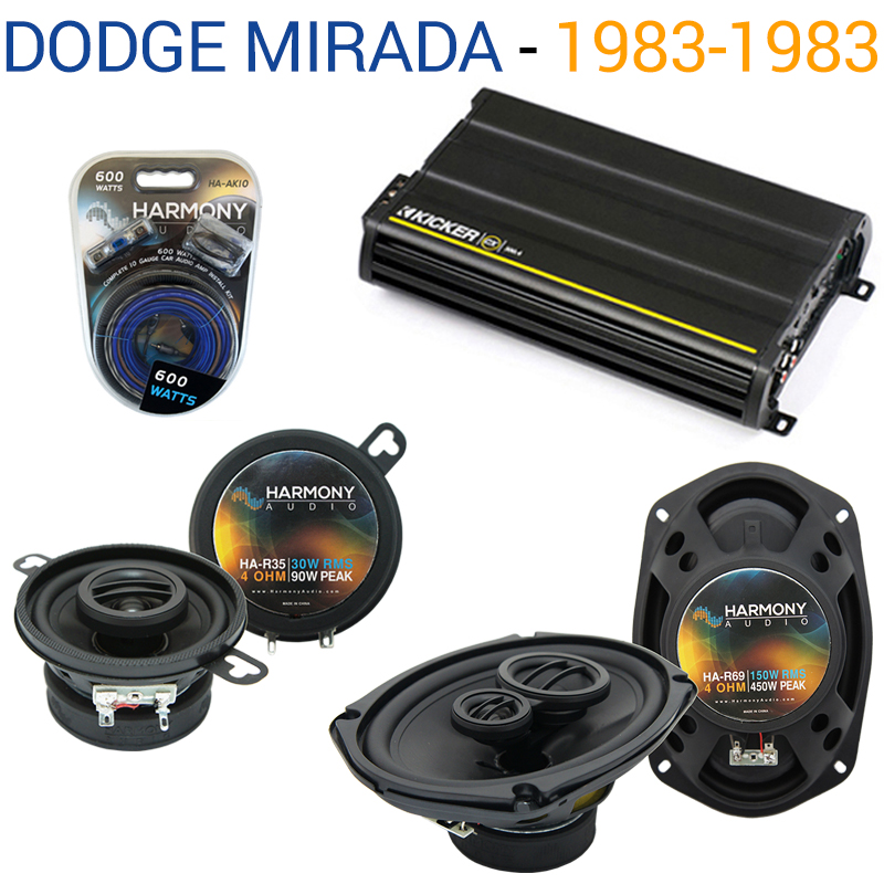 Dodge Mirada 1983-1983 Factory Speaker Upgrade Harmony R35 R69 & CX300.4 Amp - Factory Certified Refurbished
