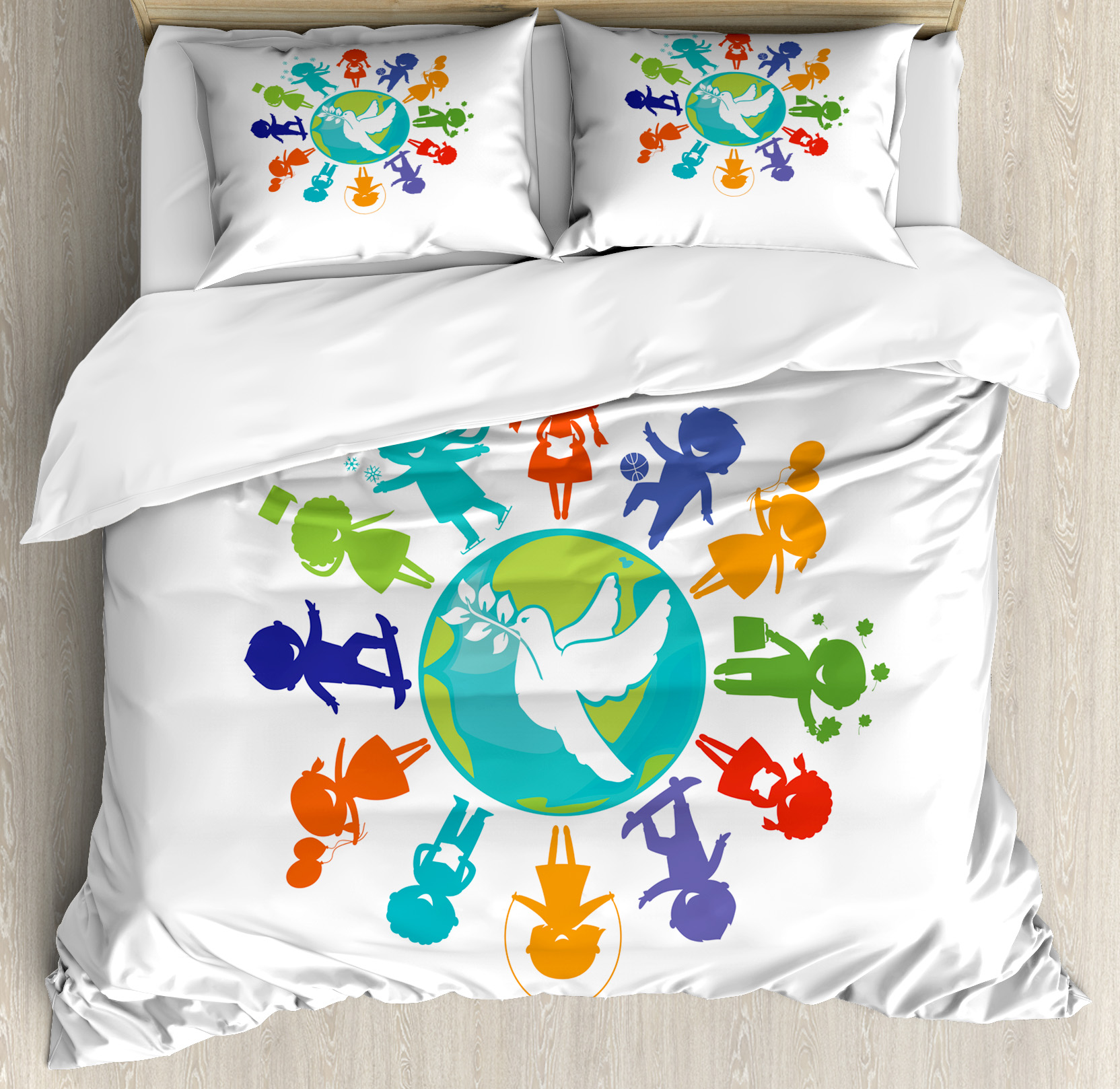 Youth King Size Duvet Cover Set, Cute Children Silhouettes around the World with Pigeon Symbol of Peace Earth Planet, Decorative 3 Piece Bedding Set with 2 Pillow Shams, Multicolor, by Ambesonne