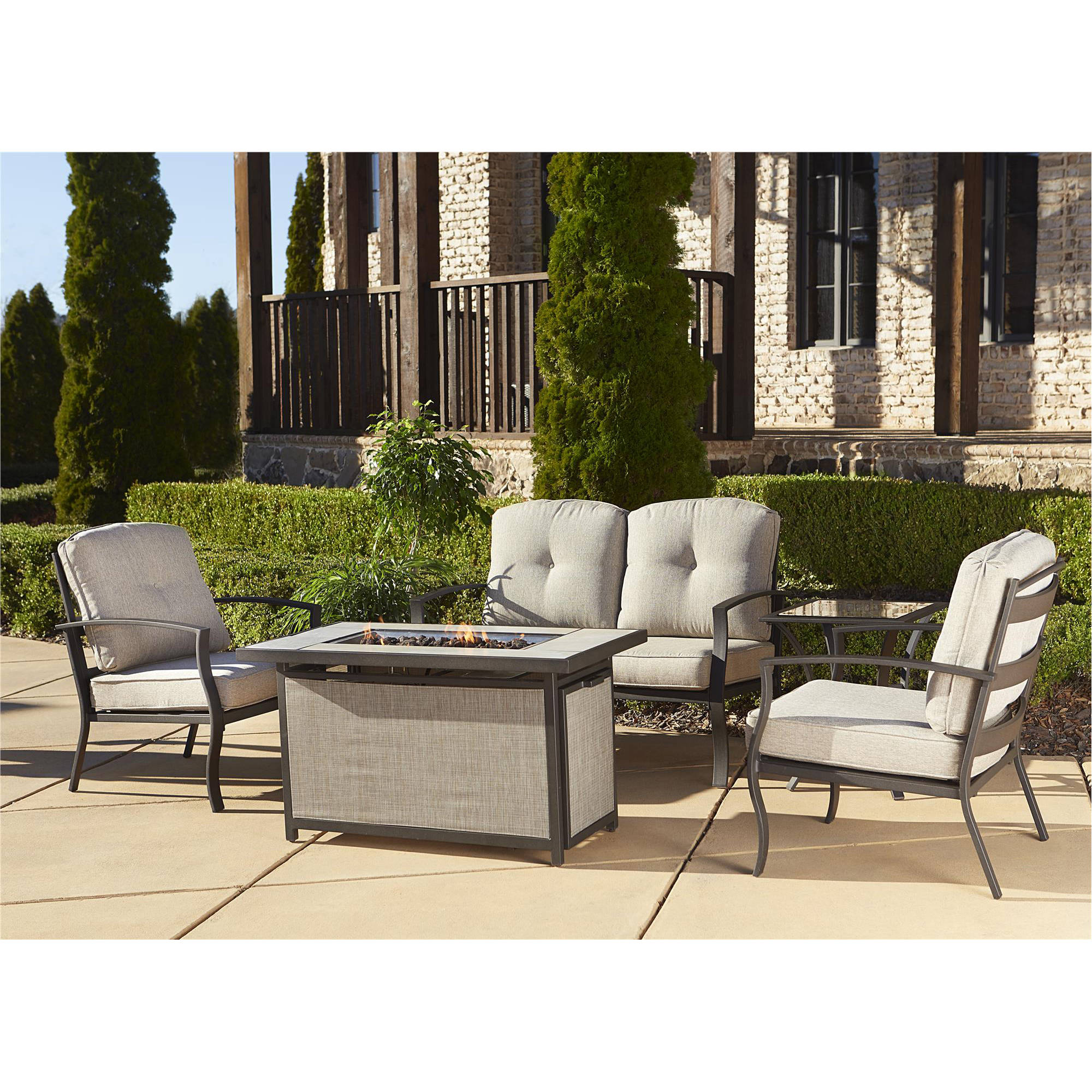 Cosco Outdoor 5-Piece Serene Ridge Aluminum Patio Furniture Conversation Set with Cushions and Aluminum Gas Fire Pit Table, Dark Brown