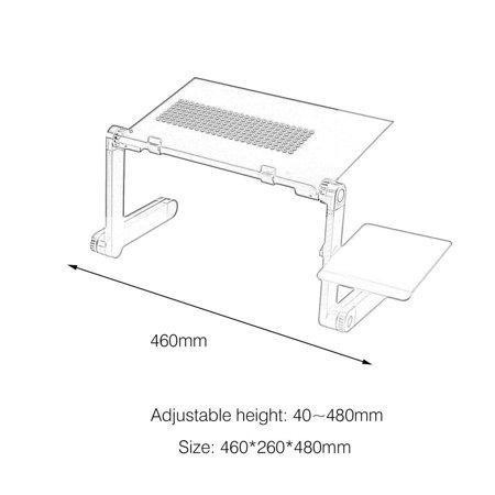 360掳Rotation Aluminum Alloy Computer Desk Foldable Adjustable Cooling Table Stand Tray With Mouse Plate For Laptop Notebook - image 6 of 6