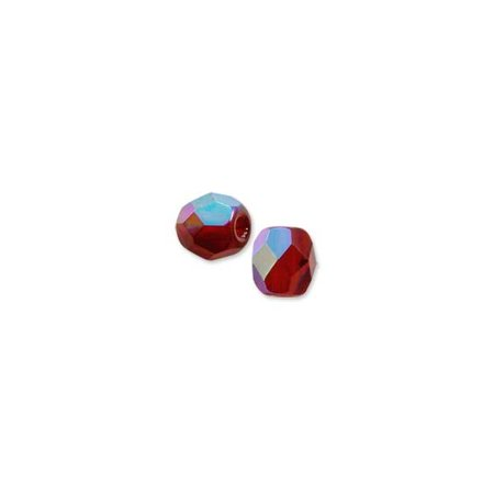 Czech Fire Polished Glass Round Beads 4mm Garnet AB (Package of 10)