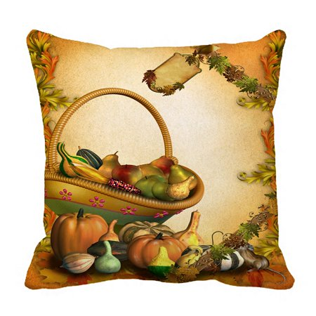 PHFZK Harvest Festival Pillow Case, Autumn Leaves Happy Thanksgiving Day Pumpkin Pillowcase Throw Pillow Cushion Cover Two Sides Size 18x18 inches - Halloween Harvest Festival Nyc