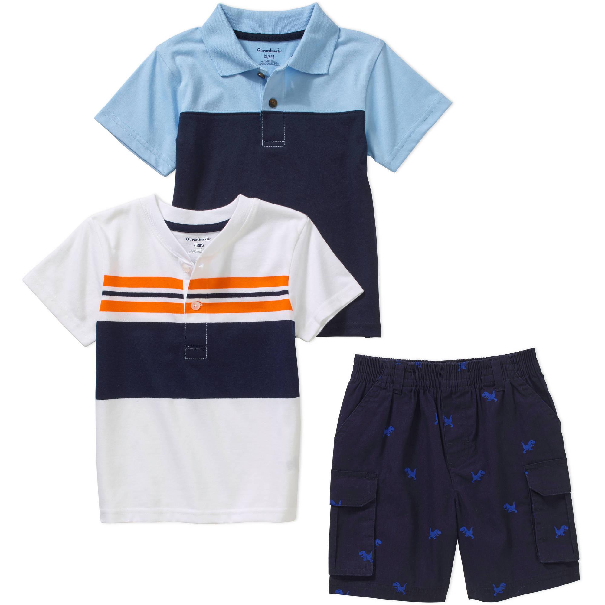Garanimals Baby Toddler Boy Short Sleeve Polo, Henley Tee, & Cargo Shorts 3 Piece Outfit Set