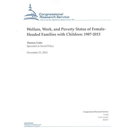 Welfare  Work  And Poverty Status Of Female  Headed Families With Children 1987 2013