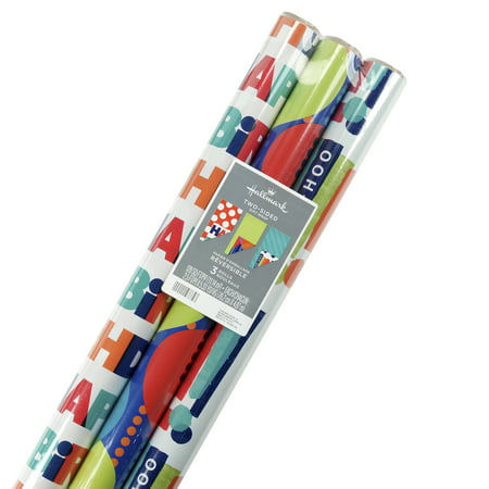 Hallmark Reversible Celebrate Tri Pack Roll Wrap