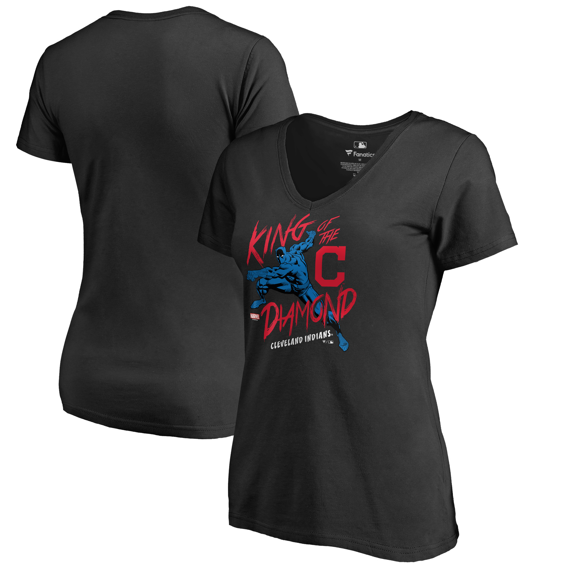 Cleveland Indians Fanatics Branded Women's MLB Marvel Black Panther King of the Diamond V-Neck T-Shirt - Black
