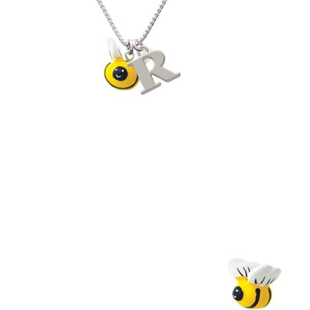 Bee Necklace - Resin Bumble Bee Capital Initial R Necklace